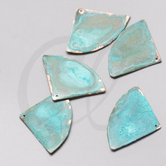2 Pieces Hand Made Real Green Patina Copper Base Charm-Fan 39.6x28.6mm (D-424)