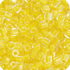 Japanese Miyuki Cube Bead - Light Yellow Lined Luster 4mm - 20 Grams