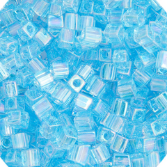 Japanese Miyuki Cube Bead - Aqua Rainbow Transparent Iris 4mm - 20 Grams