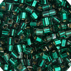 Japanese Miyuki Cube Bead - Emerald Transparent Silver Lined 4mm - 20 Grams