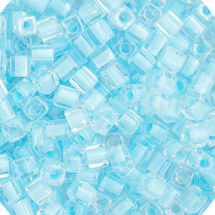 Japanese Miyuki Cube Bead - Light Blue Sky Lined Luster 4mm - 20 Grams