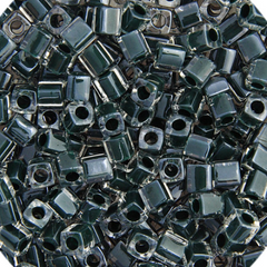 Japanese Miyuki Cube Bead - Dark Emerald Lined Luster 4mm - 20 Grams