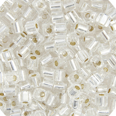 Japanese Miyuki Cube Bead - Crystal Transparent Silver Lined 4mm- 20 Grams