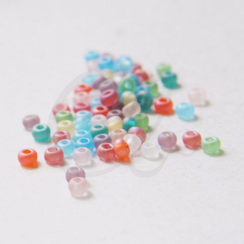 25 Grams Czech Rocailles Preciosa 6/0  Seed Beads - IRIDESCENT MATT  ASSORTED-Size 6