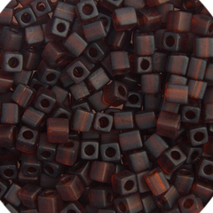 Japanese Miyuki Cube Bead - Matte Dark Brown Opaque 4mm - 20 Grams