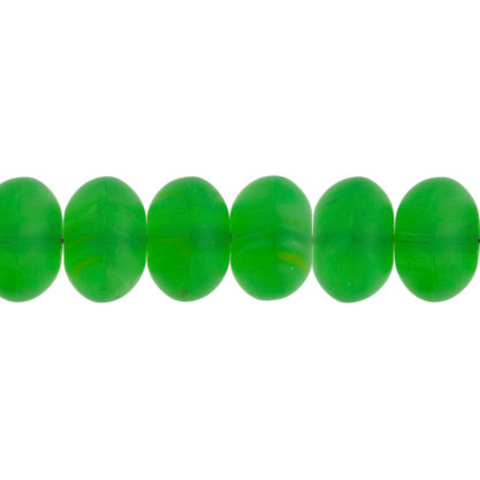 100 Pieces Czech Glass Donut Beads - Matte Green Yellow 8mm (PG9700005)