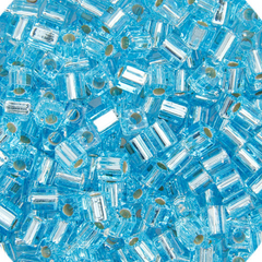Japanese Miyuki Cube Bead - Aqua Transparent Silver Lined 4mm - 20 Grams