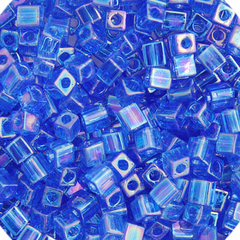 Japanese Miyuki Cube Bead - Blue Transparent Iris 4mm - 20 Grams