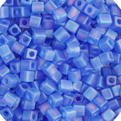 Japanese Miyuki Cube Bead - Matte Blue Rainbow Opaque Iris 4mm - 20 Grams