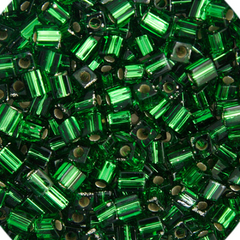 Japanese Miyuki Cube Bead - Green Transparent Silver Lined 4mm - 20 Grams