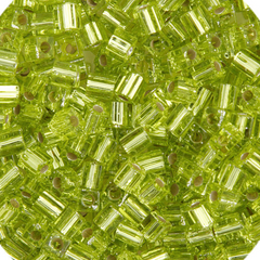 Japanese Miyuki Cube Bead - Chartreuse Transparent Silver Lined 4mm - 20 Grams