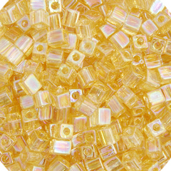 Japanese Miyuki Cube Bead - Light Brown Rainbow Transparent Iris 4mm - 20 Grams