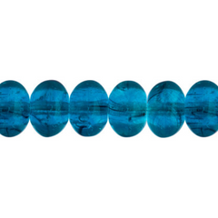 100 Pieces Czech Glass Donut Beads - PETROLEUM BLUE 8mm (PG9700022)