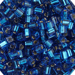 Japanese Miyuki Cube Bead - Blue Transparent Silver Lined 4mm - 20 Grams