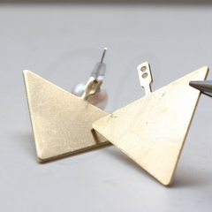 Brass Base Earring Component - Triangle - Pendant 34.5x41.2mm (3841C)