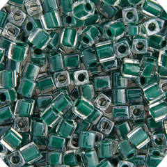 Japanese Miyuki Cube Bead - Emerald Lined Luster 4mm - 20 Grams