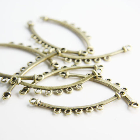 Base Metal 5 Strand Component - Earring Findings - Link 43x8mm (23078Y)