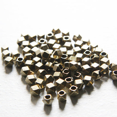 Base Metal Spacers-Faceted Square 4.5mm with approx. 2.5mm hole (2788X)