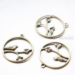 Base Metal Charms - Bird and Ring 33x29mm (30002Y)