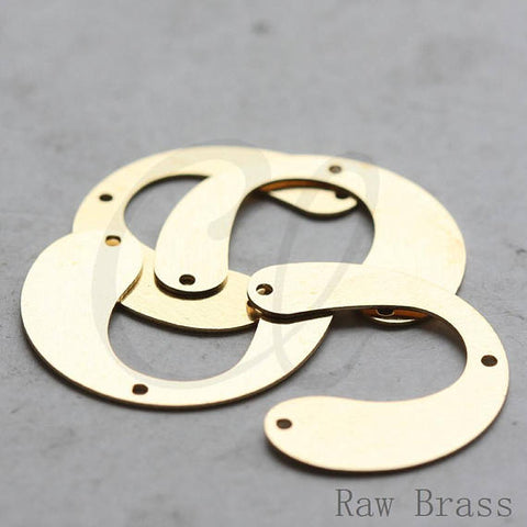 Brass Base 3 Holes Half Circle - U Link - Charm 24x19.7mm (3789C)