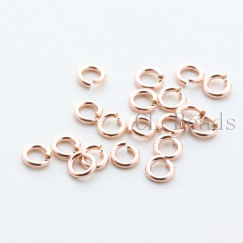 14K Rose Gold Filled Open Jump Rings-Round - 22 Gauge