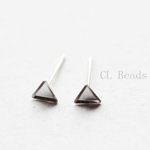 Sterling Silver Earring Setting - Cab Holder - Triangle