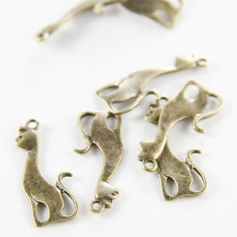 Base Metal Charms-Cat 27x11mm (5549Y)