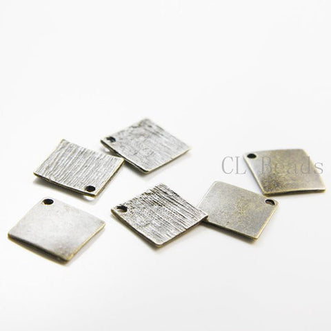 Base Metal Charm - Square - Tag 15mm (5866Z)
