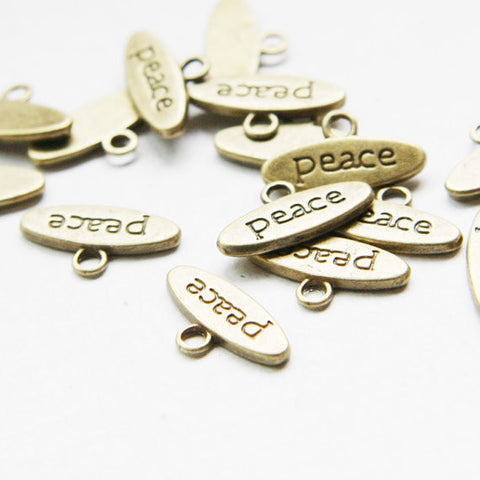 Base Metal Charms-Peace Sign 17x9mm (8119Y)