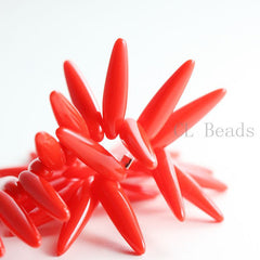 Czech Glass Thorn - Spikes - Red Alabaster 5x16mm (96311)