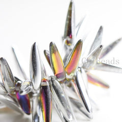 Czech Glass Thorn - Spikes - Crystal Volcano Transparent Half coated 5x16mm (96321)