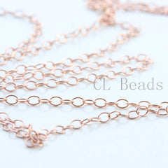 14K Rose Gold Filled Chain-Oval 2.0x1.45mm (GFC101) - One Foot