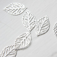 Sterling Silver Leaf Pendant - 25x14mm