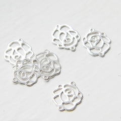 Sterling Silver Rose Links - 15x13mm