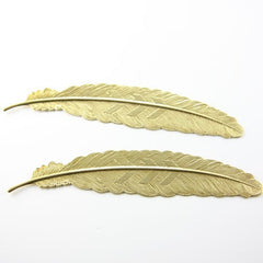 Brass Base Charms-Feather 110x23mm