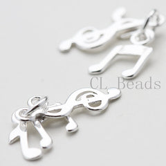 Three Music Notes S925 Sterling Silver Charm - 22x8mm