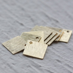 Brass Base Brushed Square Charm - 10mm (3906C)