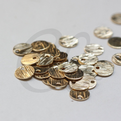 Brass Base Brushed Round Disc Charm - 6mm (3875C)