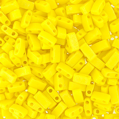 Japanese Miyuki Tila Beads - Lemon Yellow Opaque AB Frosted