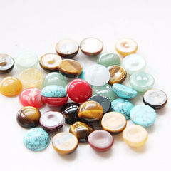 Natural Mixed Semi-Precious Stone Cabochons - Round