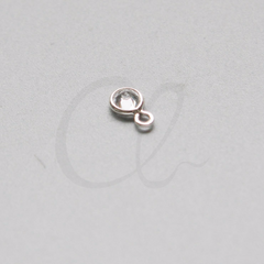 Brass Base Charm - Round with Rhinestone 7.5x4.5mm (3049C)