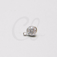 Brass Base Charm - Round with Rhinestone 9.7x6.7mm (3051C)