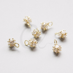 Brass Base Charm - Ball with Rhinestone 10x7mm (9005Z)