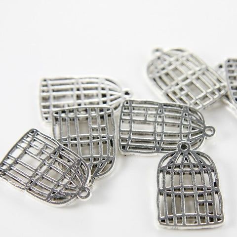 Base Metal Charms-Bird Cage 26x17mm (623X)