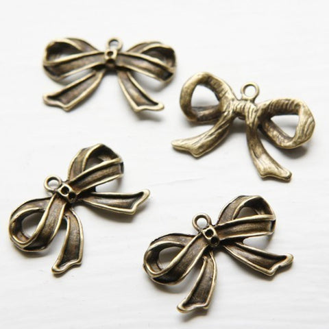 Base Metal Charms-Bow with Rhinestone Holes 29x19mm (13558Y)