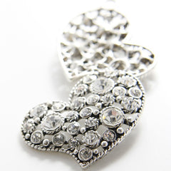 Base Metal Charms-Heart with Rhinestone 47x45mm (7107Y)