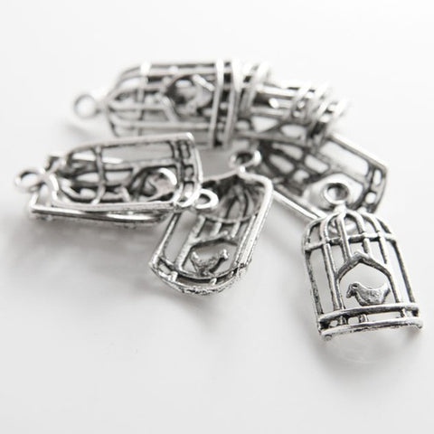 12pcs Oxidized Silver Tone Base Metal Charms-Bird in Cage 26x14mm (12815Y)