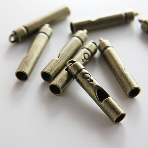 Base Metal Charms-Whistle 38x7mm (not a real whistle) (502X)