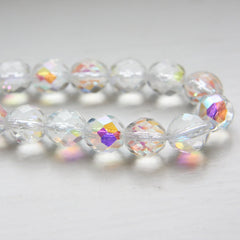 Czech Fire Polish Faceted Round - Crystal AB