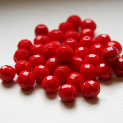 Czech Fire Polish Faceted Round - Opaque Red
